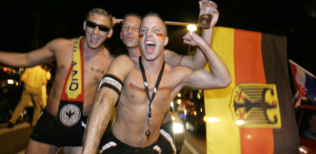Patriotic Germans flying the flag for football