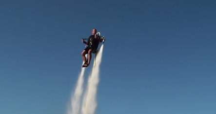 German jet pack helps humans fly above water