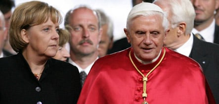 Chancellor and pope try to bury hatchet in Holocaust row