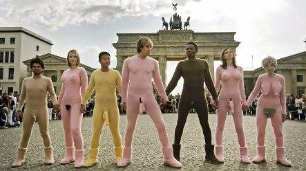 Bruno takes Berlin in knit 'naked' suit
