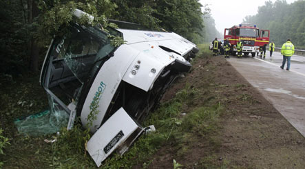 Two dead and 11 injured in bus crash