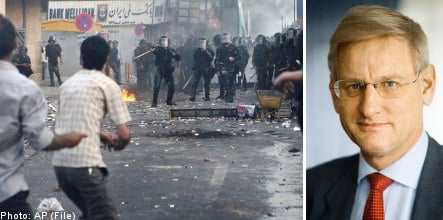 Bildt pushes Iran to allow peaceful protests