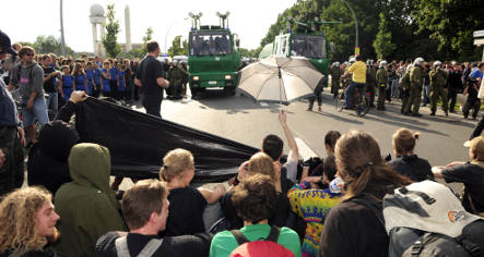Would-be airport squatters held back by huge police presence