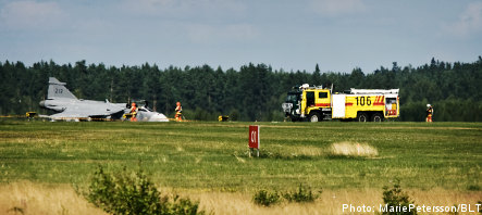 Gripen plane catches fire on runway