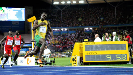 Bolt blitzes to new 100m world record in Berlin
