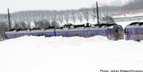 Snow halts trains in southern Sweden