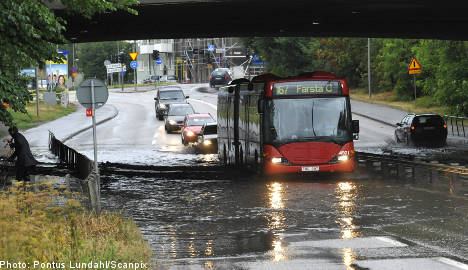Chaos reigns in central Sweden after heavy rain