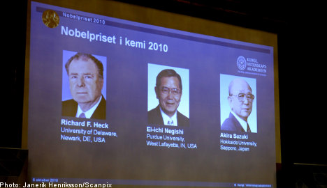 Chemistry Nobel shared by three scientists