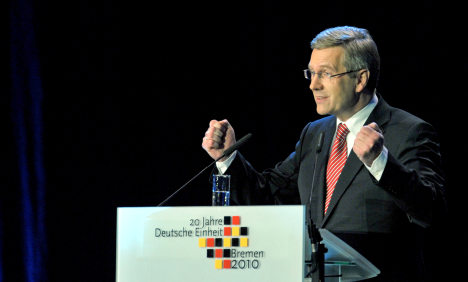 German President Wulff honours 20th Unity Day