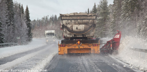 Snow causes slick roads in southern Sweden