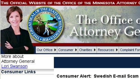 US state issues alert over Swedish email scam