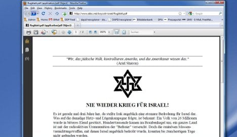 Anti-Semitic flyer found on The Left website