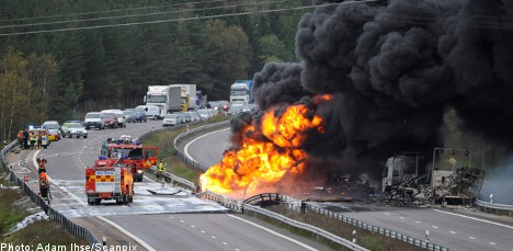 Driver found dead after tanker truck inferno