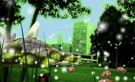 Giant green worm stalks city park in augmented reality experiment