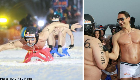 Swedish supermodel sheds clothes for naked luge race