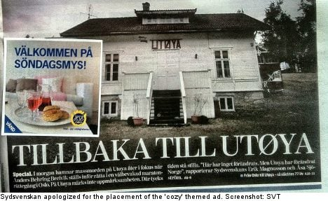 Paper sorry for 'cosy' ad over Utøya story