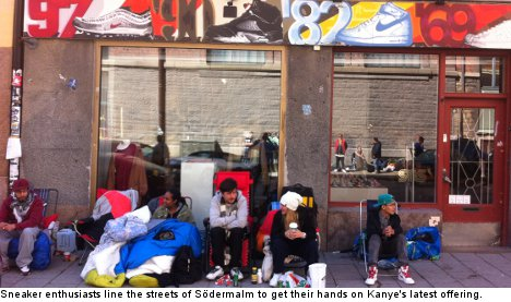 Shoe lovers camp out for new Kanye sneakers