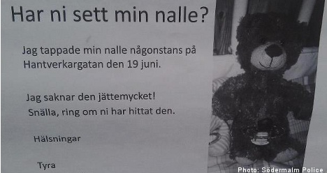 Police act to help find Swedish girl's lost teddy