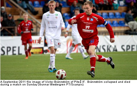 Swedish footballer dies after mid-match collapse