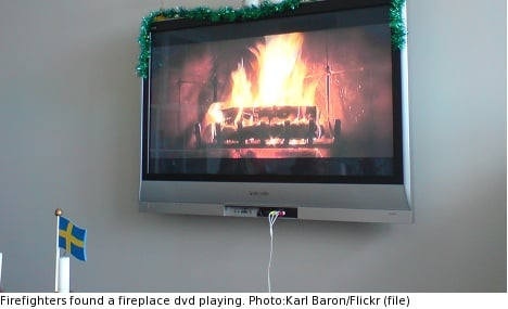 Swedish firefighters in fireplace video mix-up