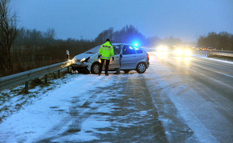 Slippery roads cause several accidents