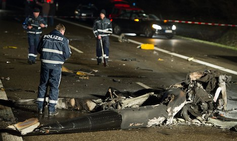 One dead as helicopter crashes on autobahn