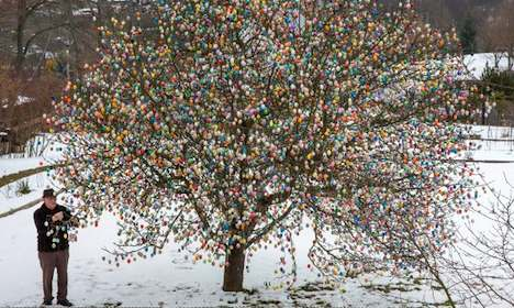 Pensioner decorates tree with 10,000 Easter eggs