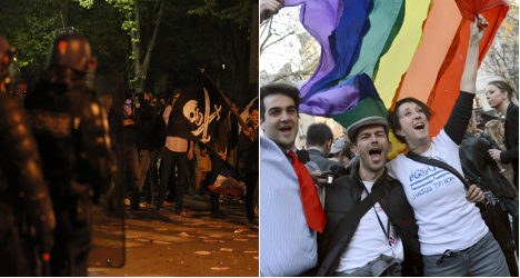 Clashes and celebrations after gay marriage vote