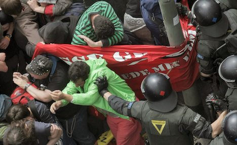 Anti-austerity protesters march in Frankfurt