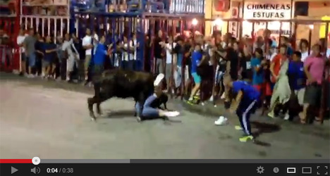 Video: British tourist gored by bull in Spain