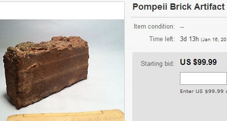 Shock after Pompeii relic put up for sale on eBay