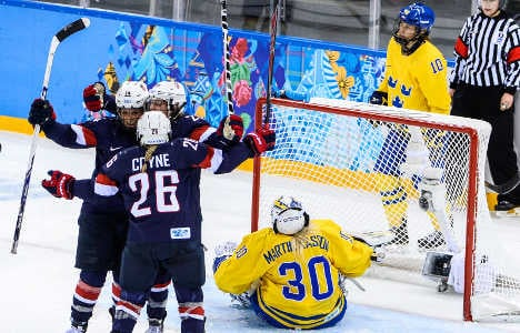 US women crush Sweden in Olympic hockey rout