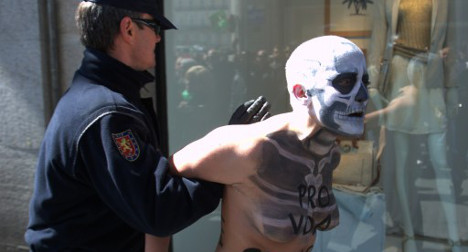 Femen attack pro-life demo disguised as death