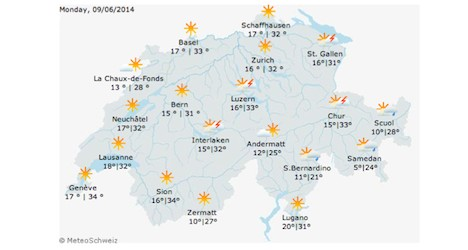 Swiss heatwave expected over holiday weekend