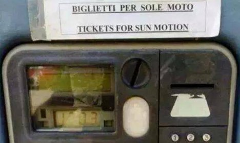 Rome parking meter sells tickets for 'sun motion'