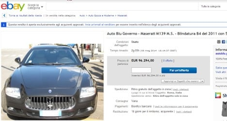 eBay users snub Italy's luxury official cars