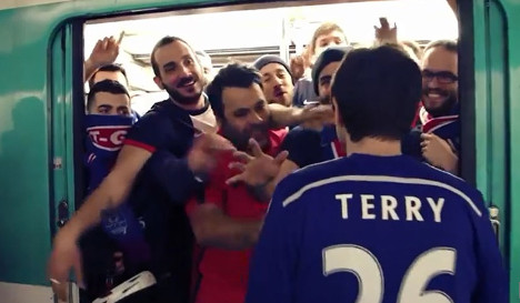 PSG fans mock Chelsea in parody of racist act
