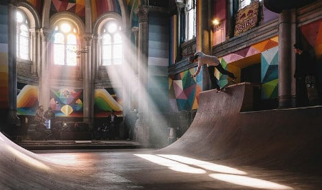 Abandoned church transformed into amazing colourful skate park