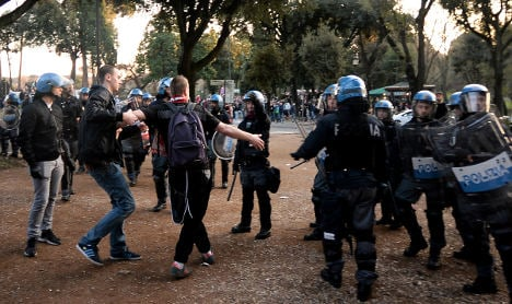 One stabbed as football fans clash ahead of Rome game