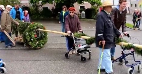OAPs steal maypole with their zimmer frames
