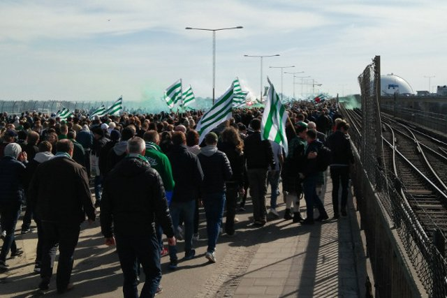 In pictures: Thousands of football fans join epic march through Stockholm