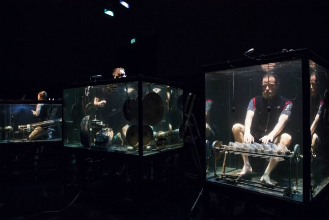 Danish musicians in aquariums make sounds in a silent world