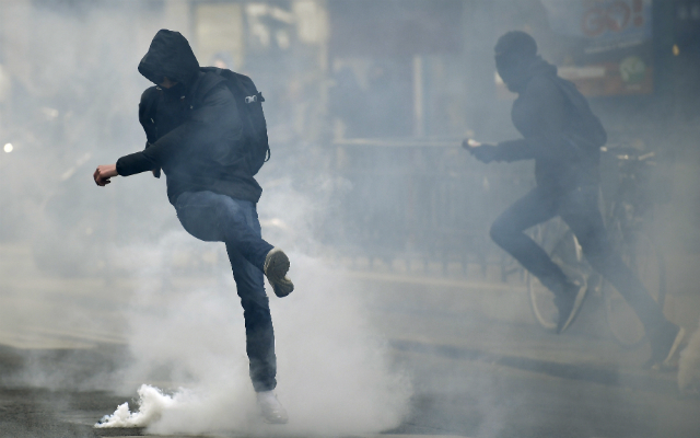French high school pupils clash with police in Paris anti-election demo