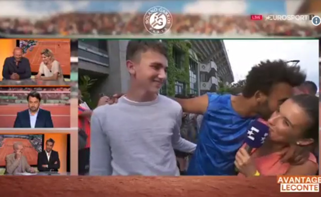 VIDEO: French tennis player banned after repeatedly kissing TV interviewer live on air