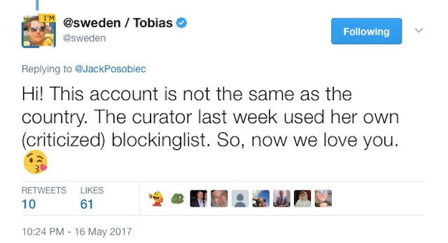 Sweden's official Twitter account blocks (then unblocks) 14,000 users in hate speech controversy