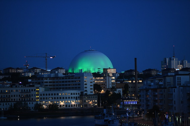 Stockholm's Globe Arena lights up in green for Paris climate agreement