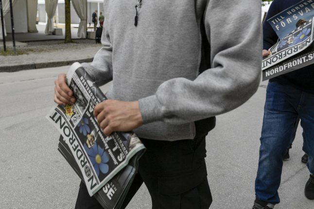 Swedish neo-Nazis hand out flyers, causing fight to break out