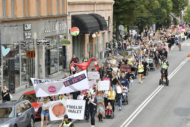 Protesters march against 'chaos' in Swedish maternity care