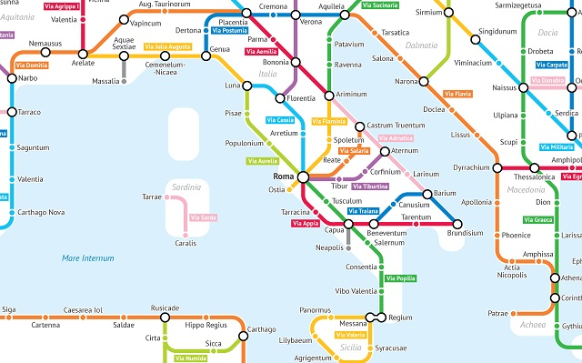 This map shows Ancient Roman roads as a subway network