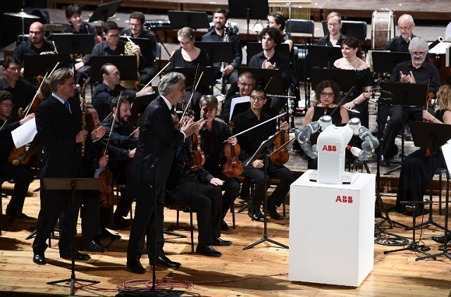 A robot conducted Andrea Bocelli and an Italian orchestra in a world first